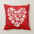 Dog Paw Prints Valentine Heart Throw Pillow