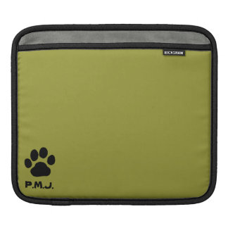 Dog Paw Prints with Custom Text and Colors iPad Sleeve