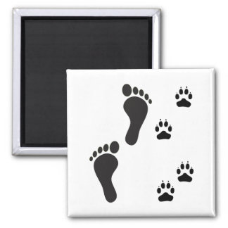 Dog paw prints with Human foot print Magnet