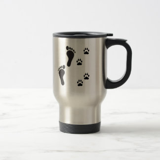 Dog paw prints with Human foot print Travel Mug
