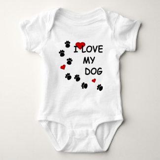 Dog Paw Tracks I Love my Dog Hearts Infants Baby Bodysuit