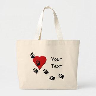 Dog Paw Tracks On My Heart Tote Bag