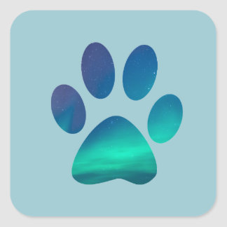 Dog Pawprint Aurora Northern Lights Stickers
