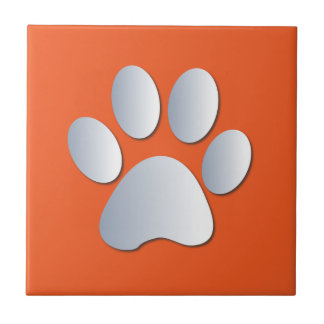 Dog pawprint silver, orange fun tile, trivet, gift tile