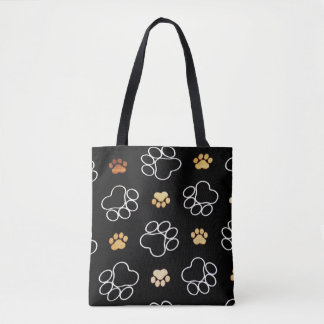 Dog Pawprint Tracks Black Tote Bag