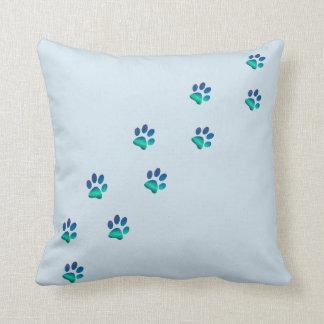 Dog Pawprints Footprints Throw Pillow
