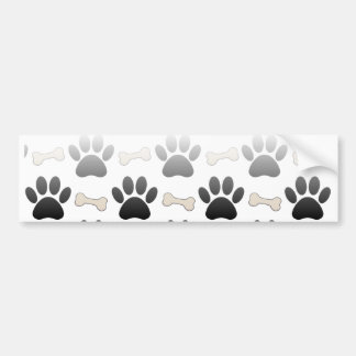 Dog Paws And Bones With Gradient Bumper Sticker