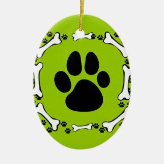 Dog Paws and Dog Bones Ceramic Oval Ornament