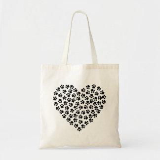 Dog paws heart tote bag