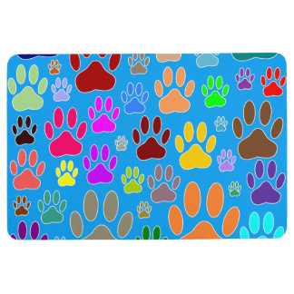 Dog Paws In Blue Background Floor Mat