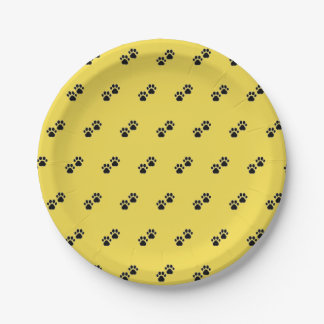 Dog Paws on Yellow Paper Plate