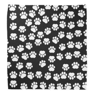 Dog Paws, Traces, Paw-prints - White Black Bandana