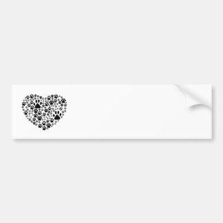 Dog Paws, Trails, Paw-prints, Heart - Black Bumper Sticker