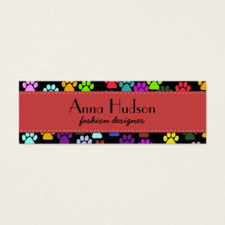 Dog Paws, Trails, Paw-prints - Red Blue Green Mini Business Card