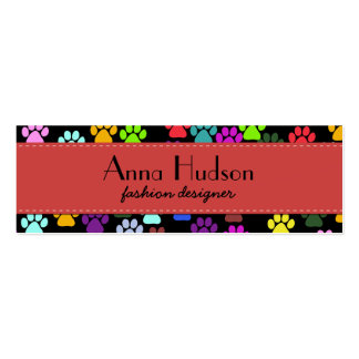 Dog Paws, Trails, Paw-prints - Red Blue Green Pack Of Skinny Business Cards