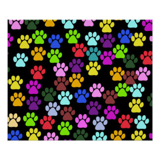 Dog Paws Trails Paw-prints - Red Blue Green Poster