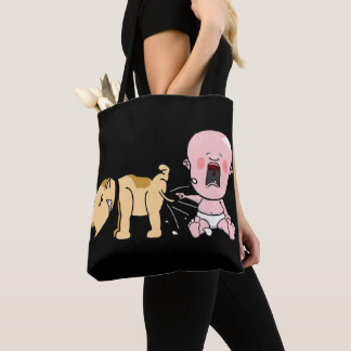 Dog Pees On Baby-Personalized Tote