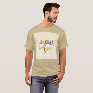 Dog Perro Triplets Walk Watercolor Rare T-Shirt