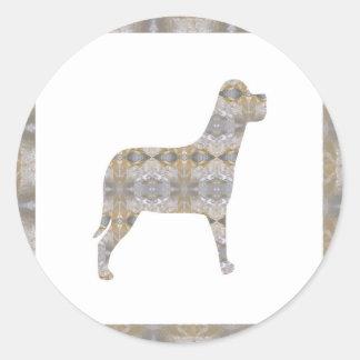 DOG pet animal CRYSTAL Jewel NVN450 KIDS LARGE Round Sticker