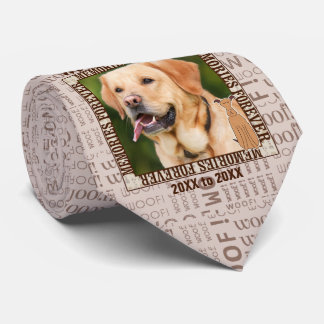 Dog Pet Memorial Custom Photo Brown Tie
