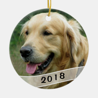 Dog Photo Family Pet Dated Round Ceramic Ornament