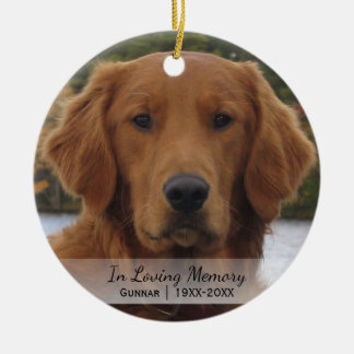 Dog Photo In Loving Memory Name Year Christmas Round Ceramic Ornament
