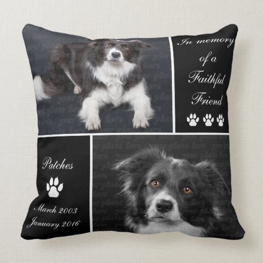 Dog Photo Memorial Tribute Throw Pillow