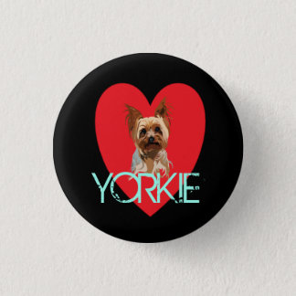 Dog Pin: Yorkie Heart 1 Inch Round Button