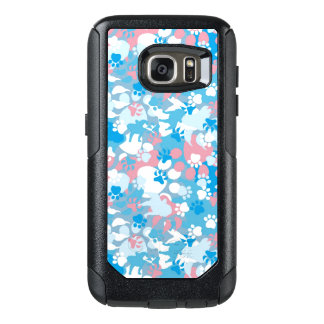 Dog Pink and Blue Camouflage Pattern OtterBox Samsung Galaxy S7 Case