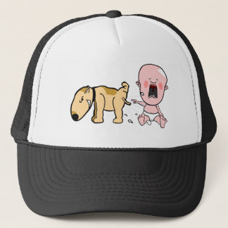 Dog Pisses On Baby-Funny T-shirt Trucker Hat