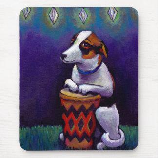 Dog playing bongo drum fun original drumming art mouse pad