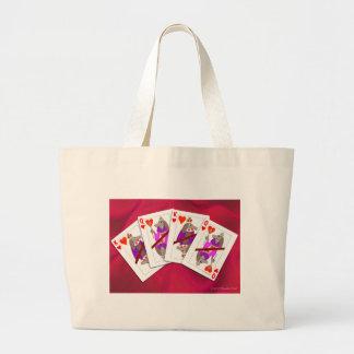 Dog Playing Cards Large Tote Bag