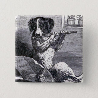 """Dog Playing the Flute"" Vintage Illustration 2 Inch Square Button"