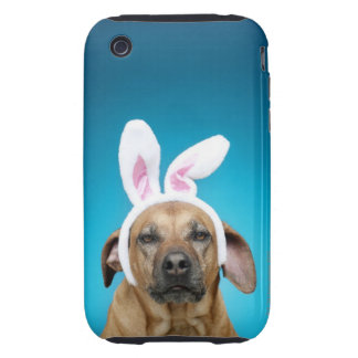 Dog portrait wearing Easter bunny ears iPhone 3 Tough Cases