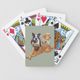 Dog posse with cat bicycle playing cards