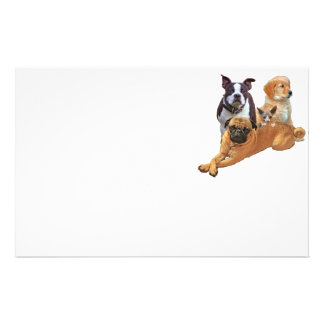 Dog posse with cat customized stationery