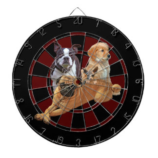 Dog posse with cat dartboard