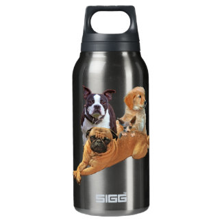 Dog posse with cat insulated water bottle
