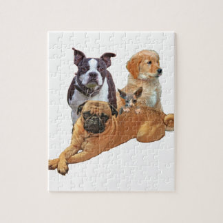 Dog posse with cat jigsaw puzzle