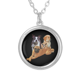 Dog posse with cat silver plated necklace