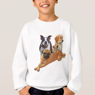 Dog posse with cat sweatshirt