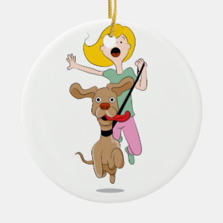 Dog Pulling Woman Cartoon Ceramic Ornament