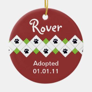 Dog/Puppy Adoption Announcement Round Ceramic Ornament