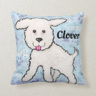 Dog Puppy Bichon Frise Custom Blue Pillow