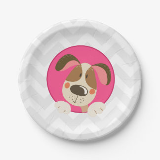 Dog puppy Birthday Paper Plates Paw-ty Pink Girl