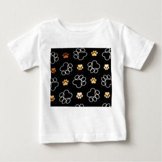 Dog Puppy Paw Prints Gifts Black and Gold Baby T-Shirt