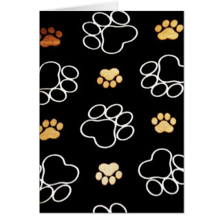 Dog Puppy Paw Prints Gifts Black and Gold Card