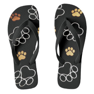 Dog Puppy Paw Prints Gifts Black and Gold Flip Flops