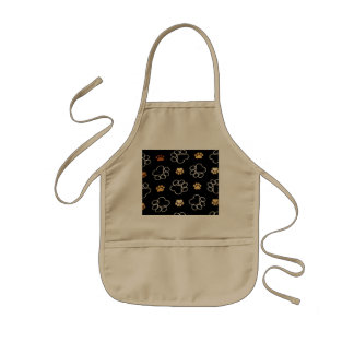 Dog Puppy Paw Prints Gifts Black and Gold Kids Apron