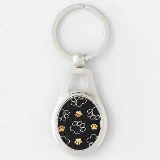 Dog Puppy Paw Prints Gifts Black and Gold Silver-Colored Oval Keychain